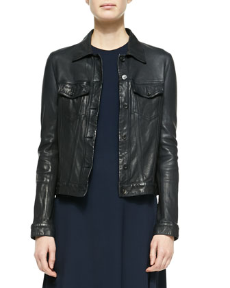 Washed Leather Trucker Jacket & Sleeveless Fit-and-Flare Dress
