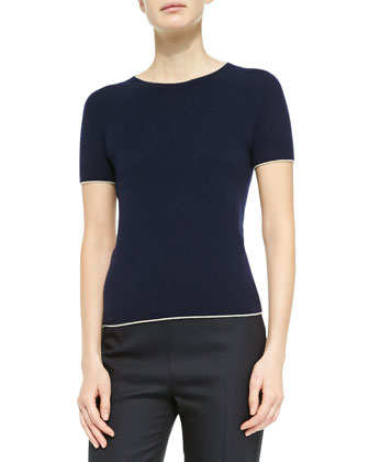 Cashmere Short-Sleeve Sweater, Navy