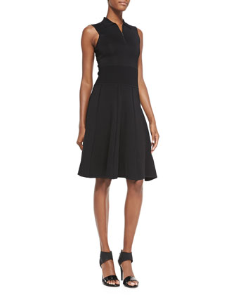 Sleeveless Polo Dress W/ Flounce Hem