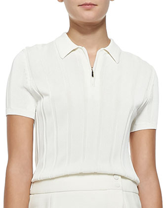 Ribbed Knit Polo Top with Zip & Faux-Wrap Pencil Skirt