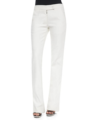 Cotton Twill Boot-Cut Trousers, Chalk