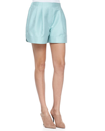 Pleated Jacquard Curved-Hem Shorts, Seafoam
