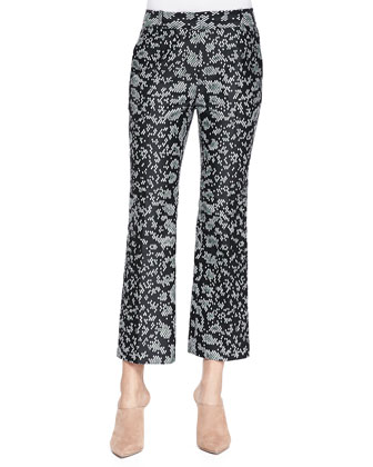 Snake-Print Cropped Flared Pants
