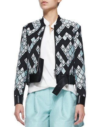Geometric-Print Textured Jacket w/ Leather Belt, Draped Tuck-In Blouse & ...