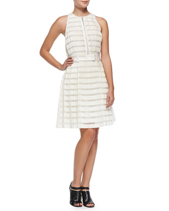 Striped Accordion-Pleated Fit-And-Flare Dress, Ivory