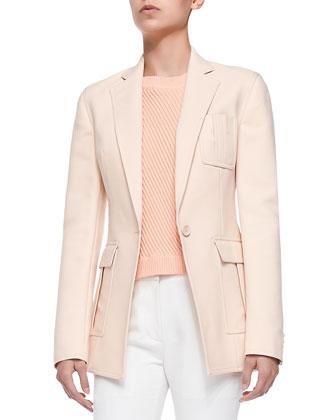 Cutaway Blazer w/ Pockets, Soft Peach