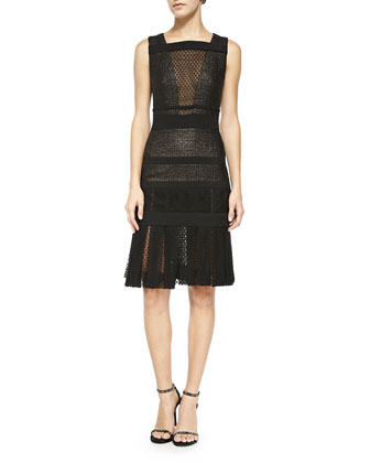 Sleeveless Lace & Tweed Dress, Noir