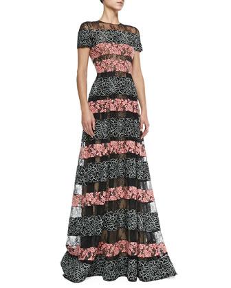 Bicolor Lace-Striped Gown, Black/Blush