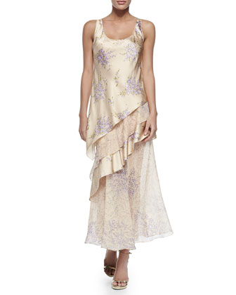 Tiered Tank Maxi Dress, Nude/Wisteria