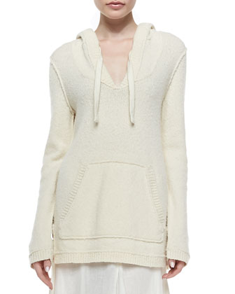 Baja Knit Pullover Hoodie & Semisheer Linen Maxi Skirt