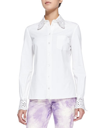 Crystal/Eyelet Embellished Shirt