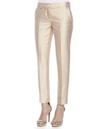 Samantha Wool-Silk Skinny Pants, Neutral