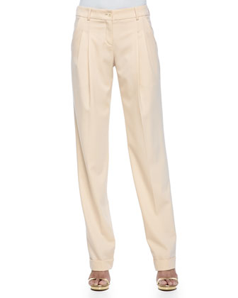 Pleated Slouch Trousers, Nude