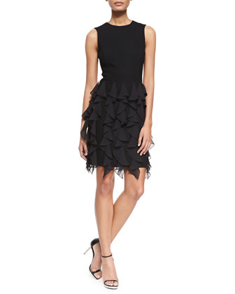 Sleeveless Ruffle-Skirt Sheath Dress