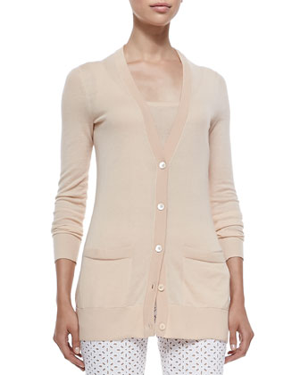 Long Cashmere Cardigan, Nude