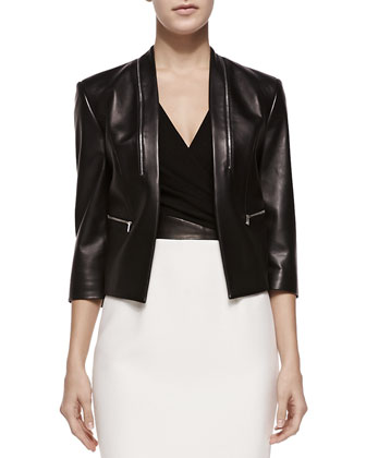 Princess-Seamed Leather Zip Jacket & Cross-Front Plunge Contrast Sheath Dress