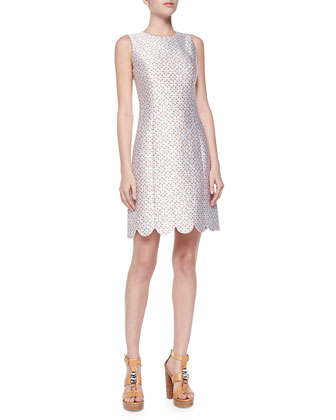 Scallop-Hem Shift Dress, Optic White