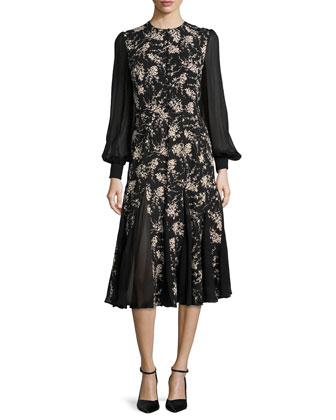 Floral-Print Chiffon-Inset Dress, Nude/Black