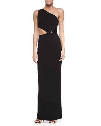 One-Shoulder Cutout Gown with Sequins, Black