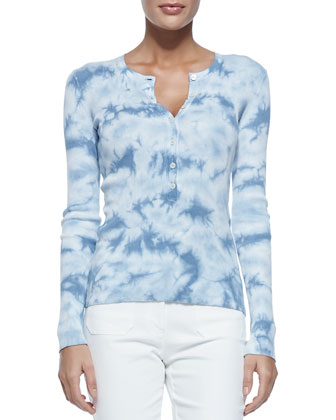 Long-Sleeve Crewneck Henley, Cornflower