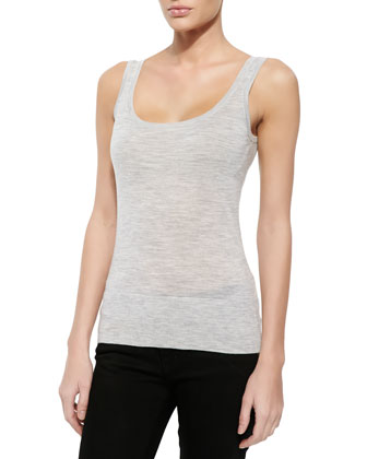 Cashmere Tank Top, Pearl Gray Melange