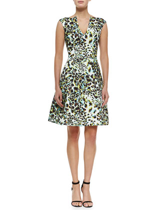 Abstract Leopard-Print Fit-and-Flare Dress