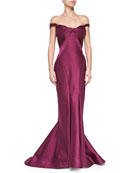 Origami Off-the-Shoulder Gown, Plum