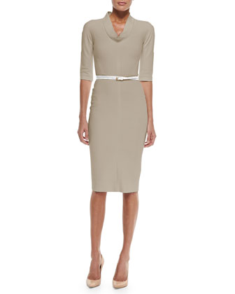 3/4-Sleeve Belted Sheath Dress