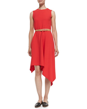 Asymmetric-Hem Dress with Belt
