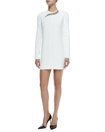 Long-Sleeve Embellished-Neck Shift Dress