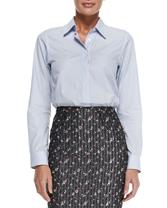Menswear Striped Button-Back Shirt & High-Waist Floral Pencil Skirt