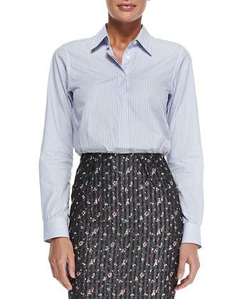 Menswear Striped Button-Back Shirt & High-Waist Floral Pencil Skirt