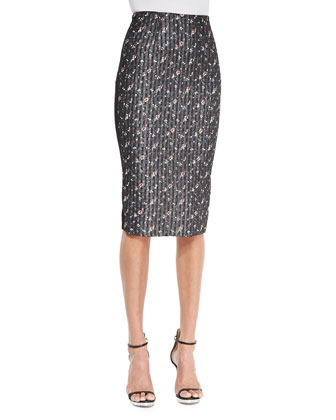 High-Waist Floral Pencil Skirt