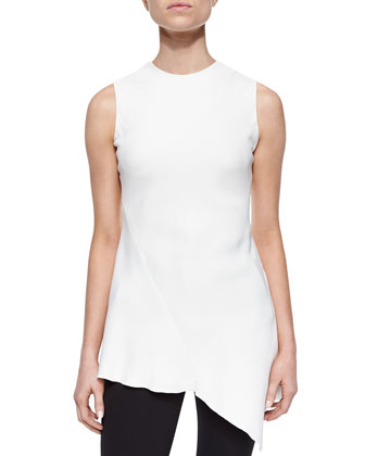 Jewel-Neck Asymmetric Top, White