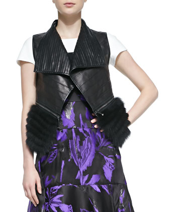 Fox Fur Trimmed Leather Vest, Noir