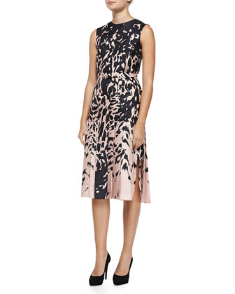 Animal-Print Dress W/ Pleated Skirt