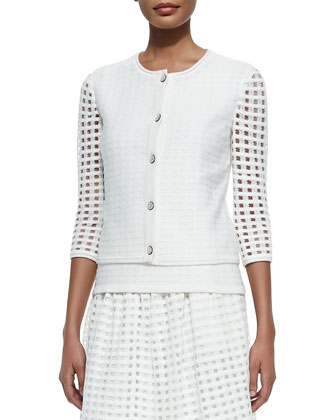 Soft Crepe Grid-Knit Jewel-Neck Cardigan, Tank Top & Overlay Skirt, Cream