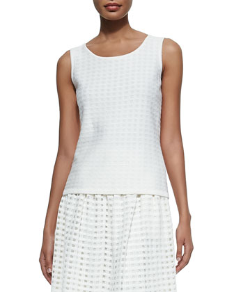 Soft Crepe Grid-Knit Tank Top, Cream