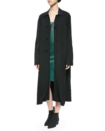 Patch-Sleeve Tech Trench Coat, Black