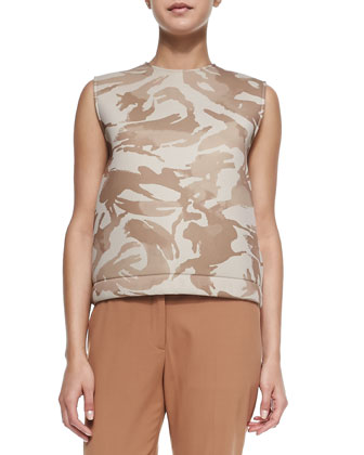 Jewel-Neck Camo Scuba Tank, Flat-Front Easy-Leg Pants & Grain Leather Hip ...