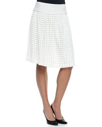 Transparent Grid-Knit Overlay Skirt, Cream