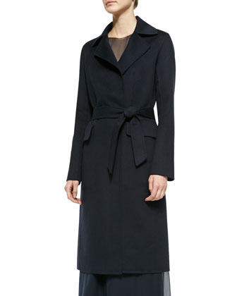 Wool Self-Tie Trench Coat & Chiffon Sleeveless Dress w/ Cami