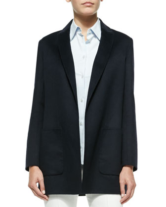 Oversize Wool Boyfriend Blazer, Stretch-Cotton Button-Front Blouse & ...