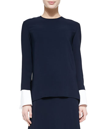 Peekaboo-Cuffed Blouse, Navy/White