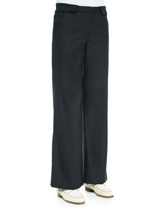 Cashmere/Silk Ribbed Pullover Sweater & Wide-Leg Flat-Front Pants
