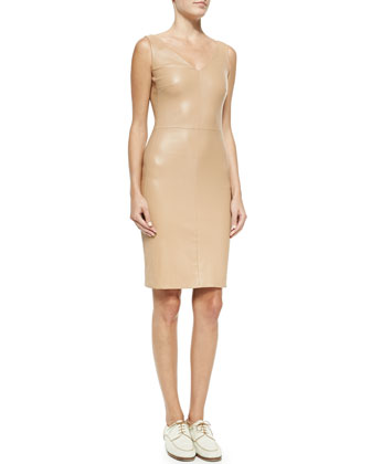 Fitted V-Neck Leather Dress, Pale Rose