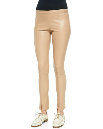 Cashmere/Silk A-Line Sweater & Slit-Cuff Leather Leggings