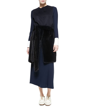 Long Mink Fur Vest with Fur Belt, Dark Navy
