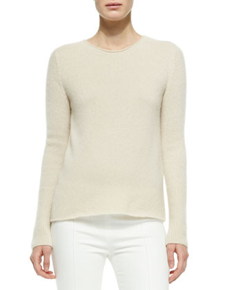 Cashmere/Silk Ribbed Pullover Sweater & Stretch-Denim Leggings