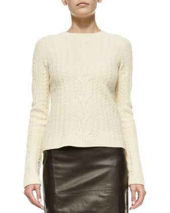 Wool/Cashmere Cable-Knit Sweater & High-Waist Leather Skirt